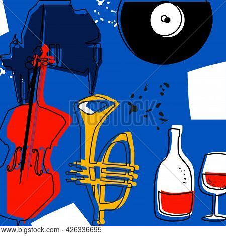 Musical Promotional Poster With Musical Instruments Vector. Violoncello, Piano, Trumpet, Lp Record D