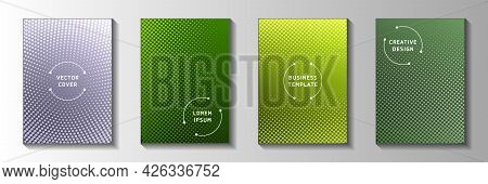 Tech Circle Faded Screen Tone Cover Page Templates Vector Set. Digital Notebook Perforated Screen