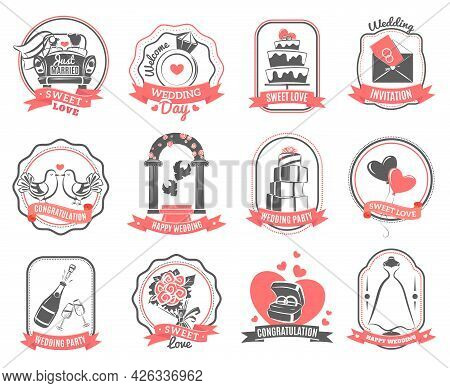 Wedding Party Love Symbols Emblems Set With Engagement Rings Hearts And Roses Outline Abstract Isola