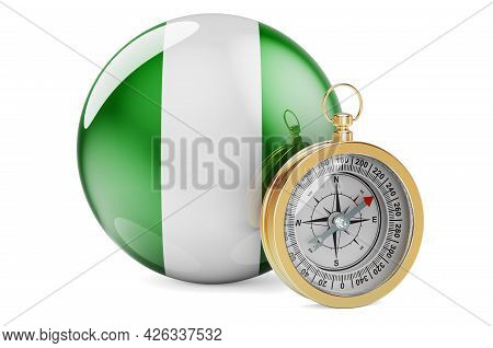 Compass With Nigerian Flag. Travel And Tourism In Nigeria Concept. 3d Rendering Isolated On White Ba