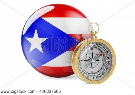Compass With Puerto Rican Flag. Travel And Tourism In Puerto Rico Concept. 3d Rendering Isolated On