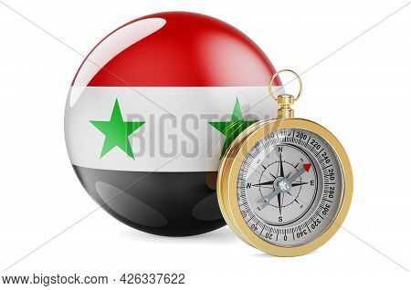 Compass With Syrian Flag. Travel And Tourism In Syria Concept. 3d Rendering Isolated On White Backgr