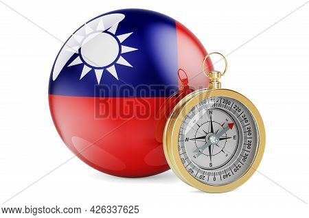 Compass With Taiwanese Flag. Travel And Tourism In Taiwan Concept. 3d Rendering Isolated On White Ba
