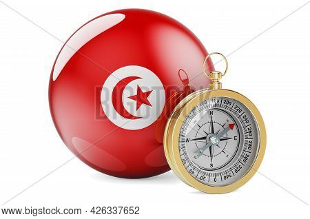 Compass With Tunisian Flag. Travel And Tourism In Tunisia Concept. 3d Rendering Isolated On White Ba