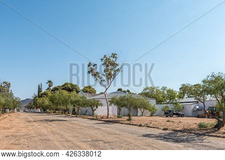 Matjiesfontein, South Africa - April 20, 2021: A Street Scene, With The Transport Museum, In Matjies