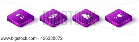 Set Isometric Scales Of Justice, Smart Watch Heart Beat Rate, Speaker Volume And Wine Glass Icon. Ve