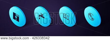 Set Isometric Waiting, Dead Laptop, Water Tap And Floppy Disk The 5.25-inch Icon. Vector