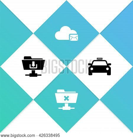Set Ftp Folder Download, Cancel Operation, Cloud Mail Server And Taxi Car Icon. Vector