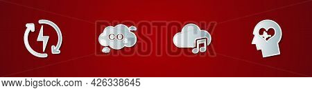Set Recharging, Co2 Emissions Cloud, Music Streaming Service And Head With Heartbeat Icon. Vector
