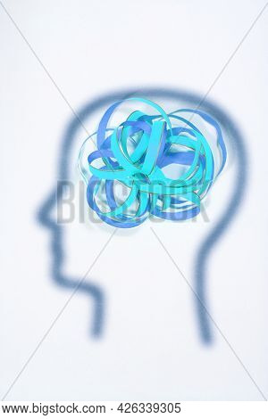 In The Silhouette Of A Human Head Is A Streamer.