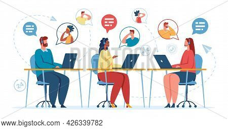 Call Center Office. Online Customer Support Operator With Headset Talking With Customer. Hotline Or