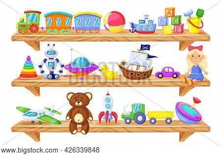 Toys On Shelves. Cartoon Wooden Store Shelf With Kids Toys Baby Doll, Train, Robot, Teddy Bear, Rock