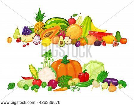 Fruit And Vegetable Piles. Apple Kiwi Cherry Apple Pepper, Tomato Pumpkin Carrot Cabbage. Fresh Orga
