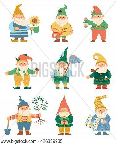 Cute Gnome. Happy Garden Gnomes With Watering Can, Shovel, Flower. Fairytale Dwarfs In Hats. Flat Ca