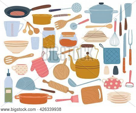 Kitchen Tools. Spatula, Spoon, Pan, Knife, Bowl, Dishes. Flat Cartoon Kitchenware, Cookware, Cooking