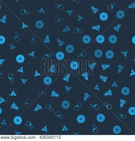 Set Lighter, Campfire, Compass And Tourist Tent With Flag On Seamless Pattern. Vector