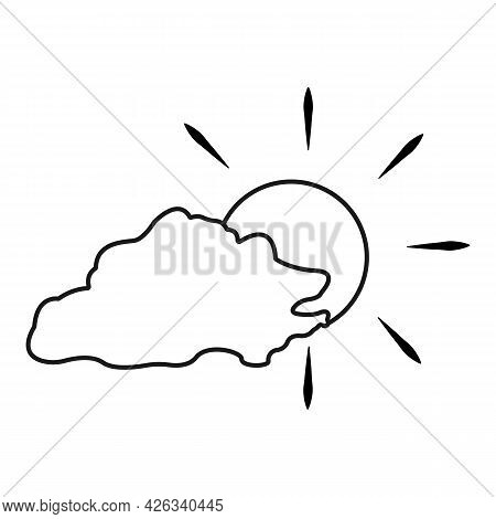 Cloud With The Sun Behind Vector Icon