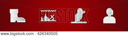 Set Leather Pirate Boots, Sunken Ship, Pirate Parrot And Sailor Captain Icon. Vector