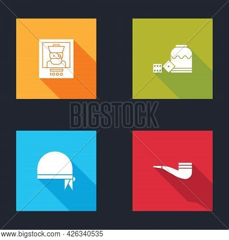 Set Wanted Poster Pirate, Pirate Game Dice, Bandana For Head And Smoking Pipe Icon. Vector
