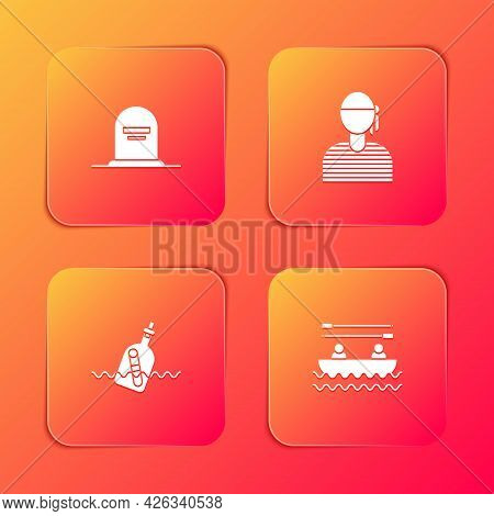 Set Tombstone With Rip Written, Sailor Captain, Bottle Message Water And Boat Oars Icon. Vector
