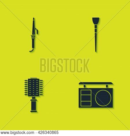Set Curling Iron, Eye Shadow Palette, Hairbrush And Makeup Icon. Vector
