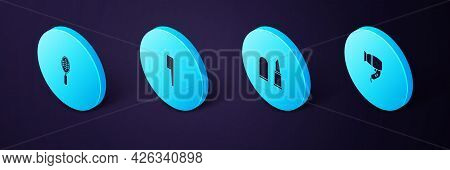 Set Isometric Hair Dryer, Lipstick, Hairbrush And Icon. Vector