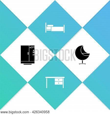 Set Shower Cabin, Office Desk, Bed And Armchair Icon. Vector