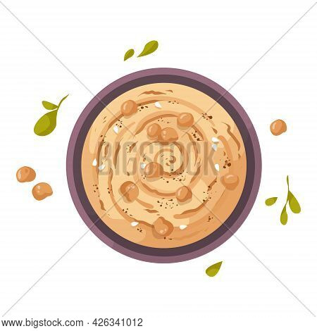 A Plate Of Hummus, A Traditional Food In India Made From Chickpeas. Healthy Vegetarian Breakfast Wit