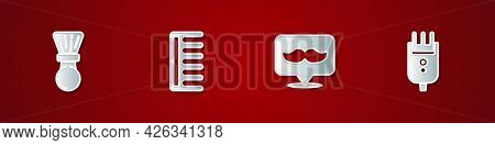 Set Shaving Brush, Hairbrush, Barbershop And Electrical Hair Clipper Or Shaver Icon. Vector