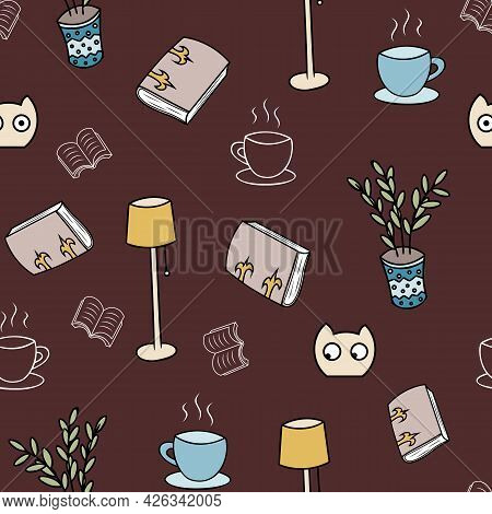 Cosy Reading Plants And Blobs Seamless Pattern.