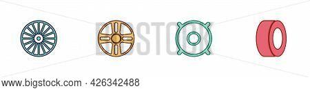 Set Alloy Wheel, , Car Audio Speaker And Tire Icon. Vector