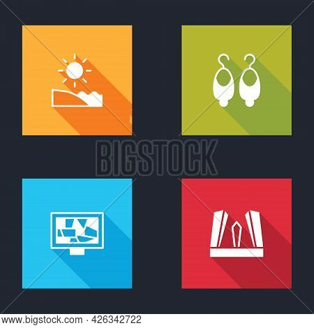Set Beach, Earrings, Picture Art And Gate Of Europe Icon. Vector