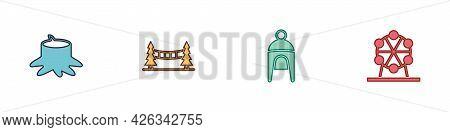 Set Tree Stump, Capilano Suspension Bridge, Winter Hat And Ferris Wheel Icon. Vector