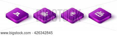 Set Isometric Ukrainian Footwear, Wicker Fence, Sunflower And Hotel Ukraina Building Icon. Vector