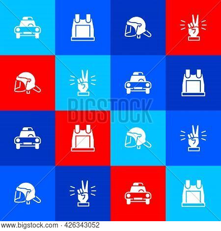 Set Police Car And Flasher, Bulletproof Vest, Helmet And Hand Showing Two Finger Icon. Vector