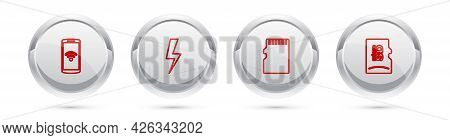 Set Line Smartphone With Wireless, Lightning Bolt, Micro Sd Memory Card And . Silver Circle Button.