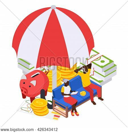Retirement Preparation Plan Isometric Composition With Old Couple Sitting On Sofa With Cash Covered