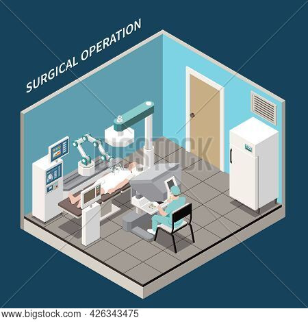 Robotic Surgery Isometric Concept With Surgical Operation Symbols Vector Illustration