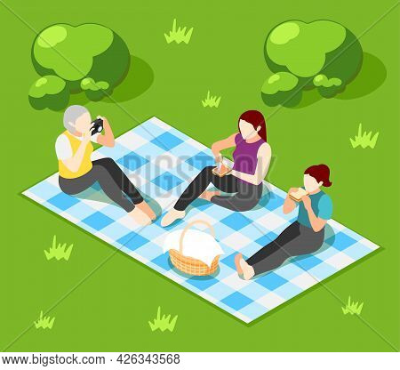 International Day Of Families Isometric Background With Three Female Characters Having Picnic Outdoo