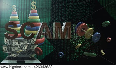 Flying Rings Of A Children's Pyramid With A Dollar Symbol And Whole Toys On A Dark Background With A