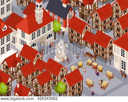 Medieval Architecture Isometric Background With Traditional Town And Marketplace Vector Illustraion