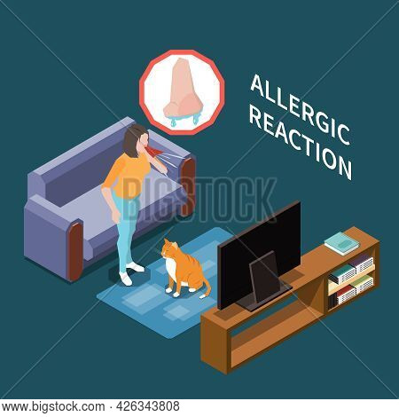Animal Hair Allergies Isometric Composition With Cat Owner Runny Nose Allergic Reaction Symptom Inte
