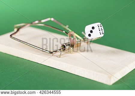 Dice And Mousetrap, Game Trap, On A Green Background, Get Into Gambling Addiction
