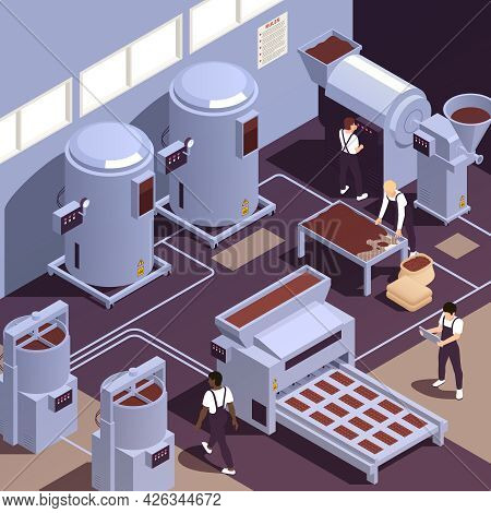Chocolate Production Manufacturing Facility With Cocoa Beans Grinding Sifting Kneading Heating Cooli