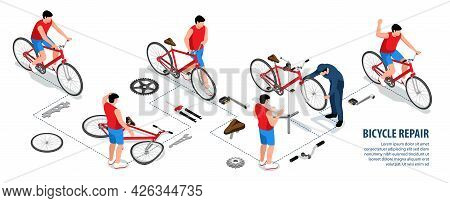 Bicycle Repair Isometric Infographics With Male Cyclist Riding Bike And Mechanic Revived Broken Vehi