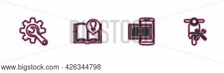 Set Line Wrench And Gear, Smartphone Book, Interesting Facts And Scooter Service Icon. Vector