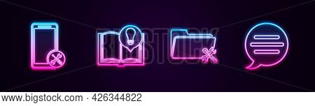 Set Line Mobile Service, Interesting Facts, Folder And Speech Bubble Chat. Glowing Neon Icon. Vector