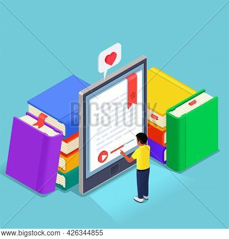 Digital Online Library Isometric Concept Man Reading Ebook On Tablet With Abstract Stacks Of Books A
