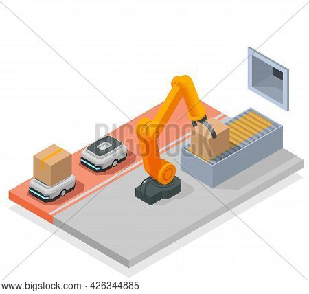 Modern Warehouse Colored Isometric Composition Automated Room In The Warehouse With Robotic Arm And