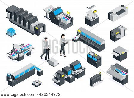 Isometric Polygraphy Color Colored Icon Set With Folding Machine Setting And Printing Folding Machin